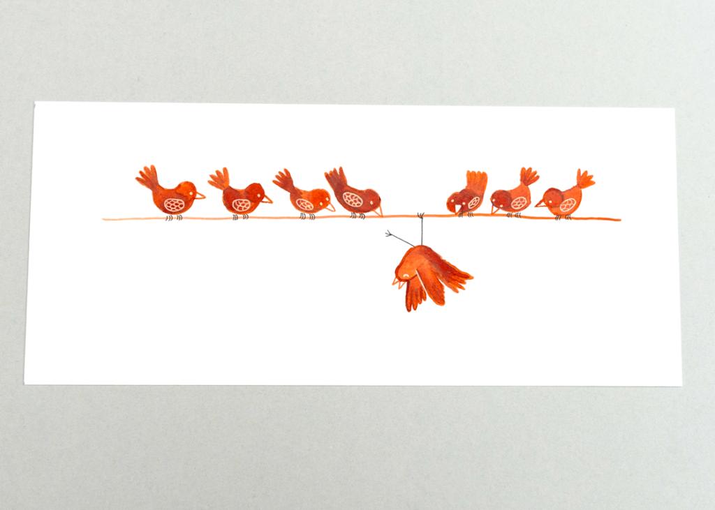 vogels-op-lijn-buitenbeentje-gouache