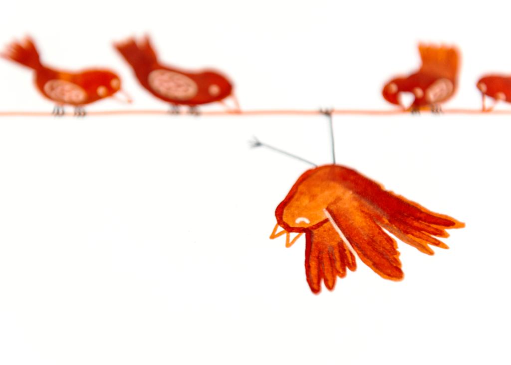 vogels-op-lijn-buitenbeentje-gouache-detail
