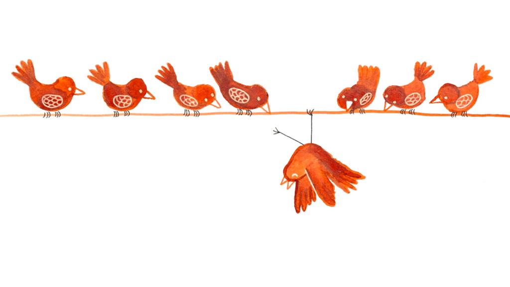 vogels-op-lijn-buitenbeentje-gouache2